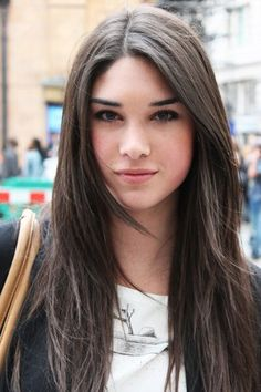not into this style but the color is nice.. slightly darker than mine and i don't hate that it's flat... long brown hair
