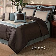 @Overstock - Give your bedroom the look of an upscale hotel with this luxurious eight-piece comforter set. The box pattern in rich shades of brown, blue, and tan provides an instant update to the space, and it makes an impression on anyone who sees the room.http://www.overstock.com/Bedding-Bath/Hotel-8-piece-Comforter-Set/3672267/product.html?CID=214117 $69.99