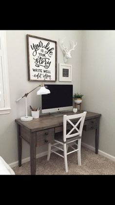 Small simple office desk can be incorporated into any room or even set away in a spare closet