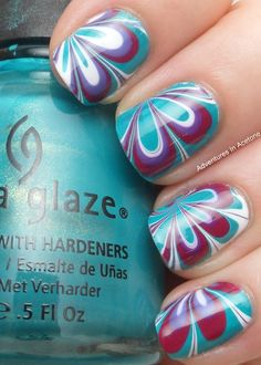 Adventures In Acetone Flowery Water Marble Nail Design