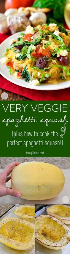 Very-Veggie Spaghetti Squash is a healthy meal packed with vegetables accented with pops of salty cheese and kalamata olives. Fresh and filling!  #glutenfree | iowagirleats.com