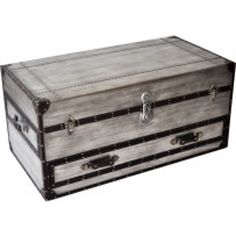 Bassett Mirror Company Aeroway Rectangular Shabby Chic Trunk Cocktail Table with Casters