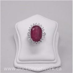 Ladies Custom Made 18kt White Gold, Genuine Oval Ruby and 22 Diamond Ring (4). - Auction Network