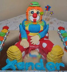 Xander's first b-day cake and my first attempt to make a fondant cake. Cake Creations, Fondant, Birthday Cake, 3d, Baking, Desserts, How To Make, Tailgate Desserts, Deserts