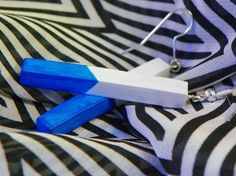 Geometric Bright Blue and white hand painted polymer clay classic shape stick dangle earrings with silver ear hooks by modernmelon on Etsy