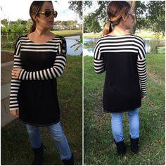 SALEContrast stripe tunics Black Colorblock contrast stripe tunics with buttons at shoulder. Small (2/4) Price is firm unless bundled. Tops Tunics