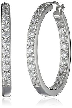 Platinum or Gold Plated Sterling Silver and Swarovski Zirconia Inside-Out Hoop Earrings (3 cttw) - MORE INFO @ http://www.ilikeboutique.com/boutique/platinum-or-gold-plated-sterling-silver-and-swarovski-zirconia-inside-out-hoop-earrings-3-cttw/?a=8905