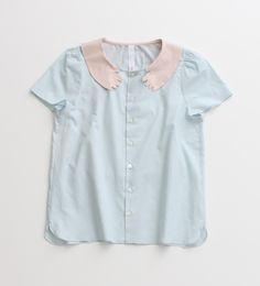 60/ローン ハグ衿半袖ブラウス 限定色