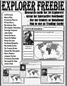 Worksheet Early Explorers Worksheets early explorers blog search and the on pinterest freebie perfect for exploration reasons routes taken unit small trading cards that aid a resear