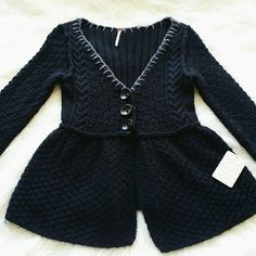 """SALE Free People Peplum Black & Gray Sweater Adorable Free People Black Peplum Wool/Acrylic Blend Sweater. 3 Large buttons in Front 26"""" from top of shoulder to bottom 19"""" Sleeve length 16"""" from armpit to armpit Free People Sweaters"""