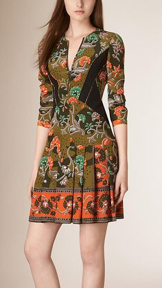 Antique green Floral Print Silk Dress