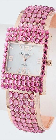 Pink Rhinestone Cuff Watch  ❤