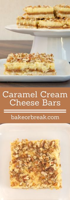 Caramel Cream Cheese Bars feature delicious layers of shortbread, caramel, cream cheese, and nuts. - Bake or Break ~ http://www.bakeorbreak.com