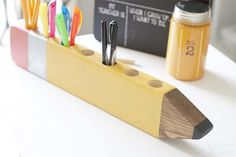 DecoArt Blog - Project - Back to School Pencil Holder