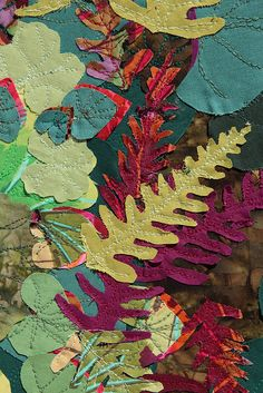 Embroidered leaves and ferns Textile Texture, Textile Fiber Art, Fabric Art, Fabric Crafts, Embroidery Stitches, Machine Embroidery, Textile Manipulation, Embroidered Leaves, Textiles