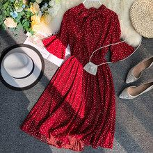 Online Shop HISUMA 2019 Spring and Summer New female V-neck half sleeve Single-breasted Belt A-line Dress women elegant lace-up dresses Modest Dresses, Modest Outfits, Cheap Dresses, Elegant Dresses, Pretty Dresses, Vintage Dresses, Casual Dresses, Casual Outfits, Chiffon Dresses