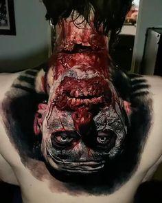 One of the insane works - 3 days (20 hours) Horror tattoo done by artist © Sandry Riffard Studio: Au Dela du Reel Tattoo, Le Puy-En Velay | France.