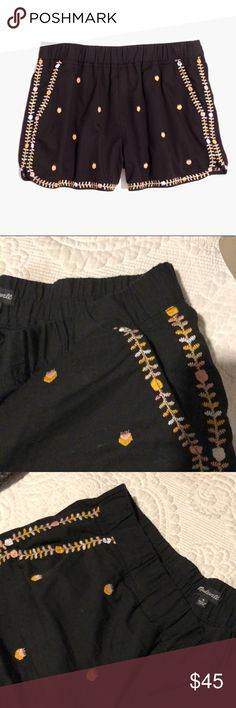 MADEWELL Embroidered Shorts Comfy, slip on shorts. Gently used. Madewell Shorts