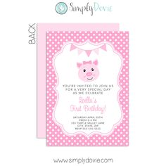 Our Pig birthday invitations will be the perfect way to invite your family and friends to help celebrate the birthday celebration! Our invitations are printed on 100lb premium matte paper. Personalize these bumble bee birthday invitations with your child's name and choose up to 4 colors. You have the choice ofordering printed cards or a digital file that you may print anywhere. The digital file will come both in a jpg and a pdf file.  Coordinate your pig themed birthday party with our…
