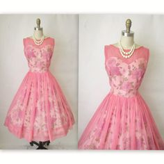 Unique Vintage 1950s Style Peach Floral Dandridge Strapless ...