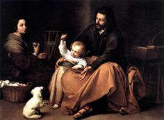 The Holy Family with a Bird -- Bartolomé Esteban Murillo - Museo Nacional del Prado (Spain - Madrid), 1650; Dimensions: Height: 144 cm (56.69 in.), Width: 188 cm (74.02 in.); oil on canvas