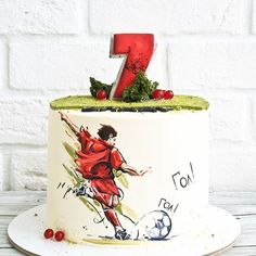 Birthday cake for men soccer party ideas Ideas Soccer Cake, Soccer Party, Barcelona Cake, Birthday Cake For Him, Dad Cake, Sport Cakes, Cake Factory, Painted Cakes, Rustic Cake