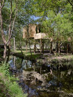 Cabana de Amalia vista desde el otro lado del pequeño riachuelo que rodea el bosque de Os Apriscos Jacuzzi, Cabana, Spaces, Deco, Plants, Life, Style, Wood Cabins, Fire Places