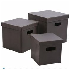 SET OF 3 x Tesco BROWN Faux Leather Collapsible Lidded Storage Boxes Containers in Home, Furniture & DIY, Storage Solutions, Storage Boxes | eBay