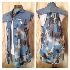 Upcycled jean jacket - by Pam Mehr Reuse Clothes, Do It Yourself Fashion, Denim Ideas, Altered Couture, Diy Clothing, Recycled Clothing, Shirt Refashion, Altering Clothes, Denim Fashion