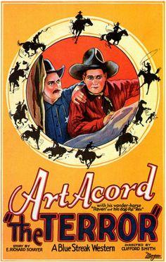 Vintage Movie Poster - 1926 Art Accord The Terror - a Blue Streak Western - Western  -  25 July 1926 (USA)