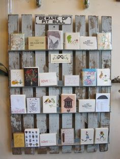 A rustic display of greeting cards from local small presses. …