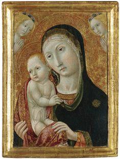 Sano di Pietro - (1405-1481) Madonna and child with angels