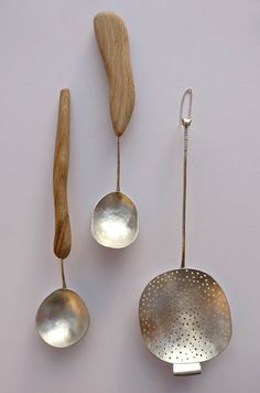 Discover Silversmith Helena Emmans handmade silver spoons, hand crafted and inspired by her Hebridean surroundings with subtle details and organic shapes Kitchenware, Tableware, Silver Spoons, Wooden Kitchen, Wooden Spoons, Organic Shapes, Kitchen Utensils, Handmade Silver, Metal Working