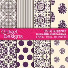 Digital Paper Pack Funky & Retro Purple on Cream