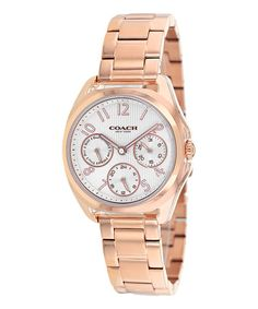 I'm a little bit obsessed with rose gold ATM. Rose Gold & White Classic Chronograph Watch #zulilyfinds