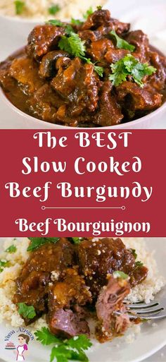 This Beef Burgundy or Beef Bourguignon is the ultimate French comfort food. Chunks of beef pieces bathed in burgundy wine are cooked long and slow with herbs and mushrooms until they are fork tender and just melt in the mouth.