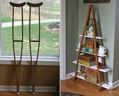 crutches... turned into chic shelving.  Could use part of a pallet for the shelves