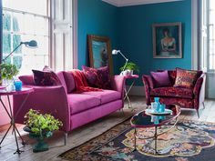 Matthew Williamson X Duresta pink sofa and patterned armchair, blue walls