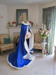 "Disney Princess Bridal Cape 76"" Royal-Train Royal Blue / White Satin with Fur trim Wedding Cloak  Handmade in USA"