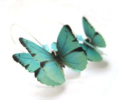 Almost Real Butterfly Earrings - Paper Butterfly Jewelry - Teal Blue Dangle Earrings - Unique Handmade Jewelry