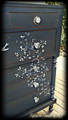 SOLD sold Distressed dresser shabby chic dresser stencil dresser 6 chest of drawers rustic dresser antique dresser painted dresser Shabby Chic Furniture, Shabby Chic Bedrooms, Refurbished Furniture, Paint Furniture, Furniture Makeover, Bedroom Furniture, Furniture Ideas, Modular Furniture, Furniture Vintage