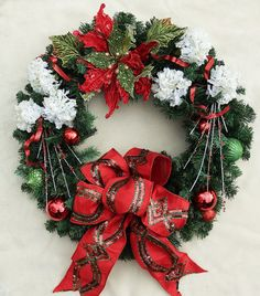 Red and Green poinsettia Christmas wreath, white flower wreath, Katherines Collection bow, Holiday w Christmas Swags, Outdoor Christmas Decorations, Holiday Wreaths, Christmas Holidays, Christmas Crafts, Holiday Decor, Spode Christmas, Holiday Cards, Christmas Stockings