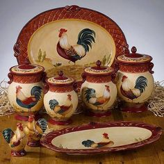 Canister Sets : Just For You Gifts - Buy it now! Antique Kitchen Decor, Rooster Kitchen Decor, Rooster Decor, Farmhouse Kitchen Decor, Rooster Plates, Decorative Tile, Decorative Boxes, Must Have Kitchen Gadgets, Airtight Food Storage Containers