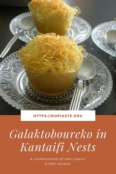 Galaktoboureko in kantaifi nests is a twist of two Greek recipes, the first being a pastry with semolina pudding and Kantaifi which is a pastry with nuts. Greek Sweets, Greek Desserts, Greek Recipes, Semolina Pudding, Lebanese Desserts, A Food, Food And Drink, Craving Sweets, Greek Cooking