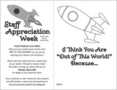Coloring Page for Space Teacher - Staff Appreciation Week