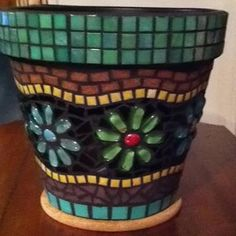 Colorful Flowers Mosaic Clay Pots Pot Crafts - All About Mosaic Planters, Mosaic Garden Art, Mosaic Vase, Mosaic Flower Pots, Painted Flower Pots, Mosaic Tiles, Mosaics, Pebble Mosaic, Cheap Planters