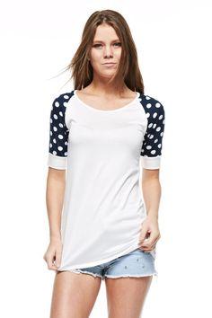 Navy Polka Dot Short Sleeved Raglan