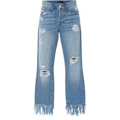 3X1 Mid Rise Distressed Straight Leg Jeans ($325) ❤ liked on Polyvore featuring jeans, pants, bottoms, denim, blue, ripped blue jeans, straight-leg jeans, ripped jeans, destroyed denim jeans and mid rise straight leg jeans