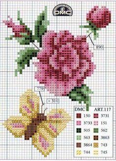 Cross stitch / Point de Croix : Grille Fleur & Papillon: