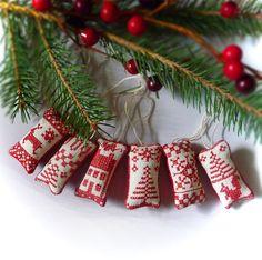 Miniature Cross Stitch Folk Art Christmas by CherieWheeler on Etsy, $18.50
